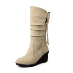 Frauen Wildleder Keil Absatz Geschlossene Zehe Keile Stiefel-Wadenlang Schuhe