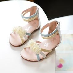 Fille de À bout ouvert similicuir Sandales Chaussures plates Sneakers & Athletic Chaussures de fille de fleur avec Velcro Une fleur