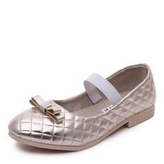 Mädchens Round Toe Geschlossene Zehe Leder Flache Ferse Flache Schuhe Blumenmädchen Schuhe mit Gummiband