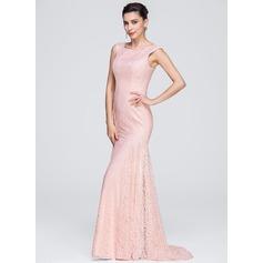 Trumpet/Mermaid Scoop Neck Sweep Train Lace Evening Dress