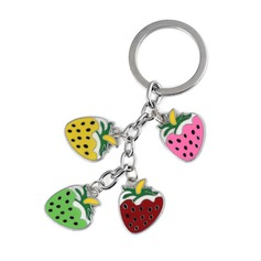 Lovely Strawberry Design Chrome Keychains
