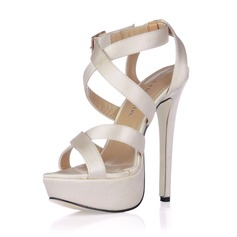 Women's Silk Like Satin Stiletto Heel Sandals Slingbacks With Buckle