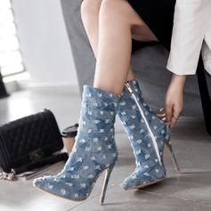 Kvinder Jean Stiletto Hæl Pumps Støvler med Lynlås sko
