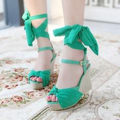 De mujer Cuero Tipo de tacón Sandalias Cuñas Encaje Solo correa con Hebilla Cordón zapatos