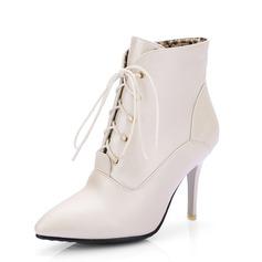 Kvinner Lær Stiletto Hæl Ankelstøvler sko (088092732)