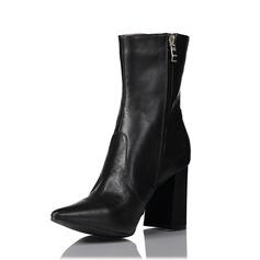 Kvinnor Äkta läder Tjockt Häl Boots med Zipper skor