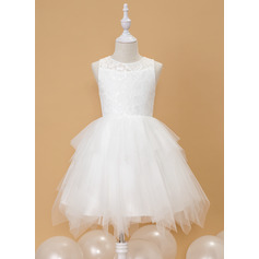 Ball-Gown/Princess Knee-length Flower Girl Dress - Tulle Sleeveless Scoop Neck With Lace