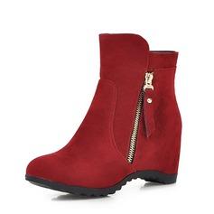 Kvinnor Mocka Kilklack Kilar Stövlar Boots med Zipper skor