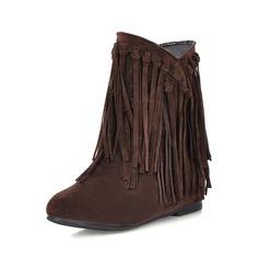 Mulheres Camurça Salto baixo Bota no tornozelo com Franja sapatos
