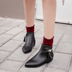 Women's PU Flat Heel Boots Ankle Boots With Zipper shoes