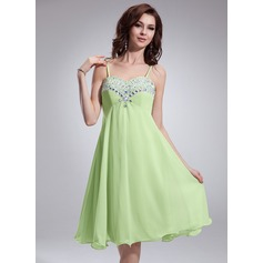 Empire Sweetheart Knee-Length Chiffon Homecoming Dress With Beading