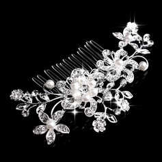 Flower Shaped Rhinestone/Alloy/Imitation Pearls Combs & Barrettes (042075077)