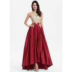 Corte A Decote redondo Assimétrico Cetim Vestido de baile com Renda Beading