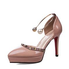 Kvinnor Lackskinn Stilettklack Sandaler Pumps Plattform Stängt Toe med Oäkta Pearl Spänne skor