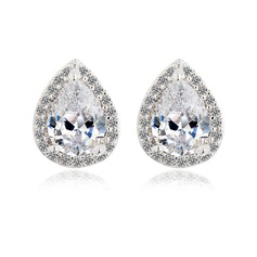 Shining Zircon/Platinum Plated Ladies' Earrings