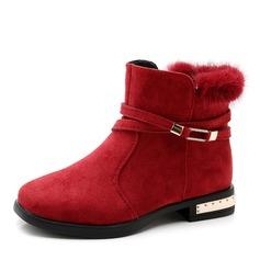 Fille de bout rond Bout fermé Bottines Suède talon plat Chaussures plates Bottes Chaussures de fille de fleur avec Zip