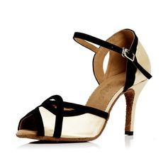 Women's Satin Heels Sandals Latin With Buckle Dance Shoes