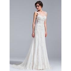 Trompete/Sereia Decote V Cauda de sereia Tule Vestido de noiva com Beading Apliques de Renda lantejoulas