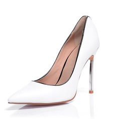 Echt leer Patent Leather Stiletto Heel Pumps Closed Toe schoenen