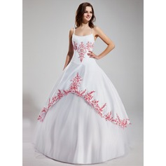 Ball-Gown Scoop Neck Floor-Length Tulle Prom Dress With Embroidered Ruffle Beading
