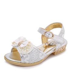 Mädchens Peep Toe Leder Flache Ferse Sandalen Flache Schuhe Blumenmädchen Schuhe mit Perlstickerei Bowknot