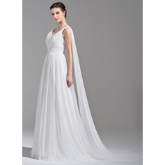 A-Line/Princess V-neck Watteau Train Tulle Wedding Dress With Ruffle