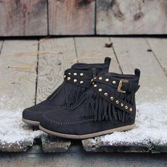 Donna Camoscio Senza tacco Stivali Stivali alla caviglia Stivali altezza media con Nappa scarpe