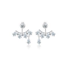 Damen Funken 925 Sterlingsilber/Zirkonia mit Runde Zirkonia Ohrringe Für Sie