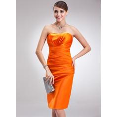 Sheath/Column Sweetheart Knee-Length Charmeuse Cocktail Dress With Ruffle