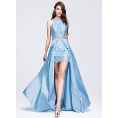 Vestidos princesa/ Formato A Decote redondo Sweep/Brush trem Tafetá Vestido de baile com Beading lantejoulas
