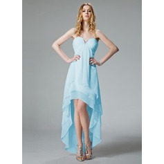 A-Line/Princess V-neck Asymmetrical Chiffon Homecoming Dress With Ruffle Beading