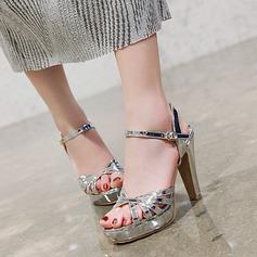 Vrouwen Kunstleer Chunky Heel Sandalen Pumps Plateau met Gesp schoenen