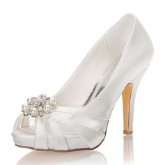 Women's Silk Like Satin Stiletto Heel Peep Toe Platform Pumps With Crystal Pearl