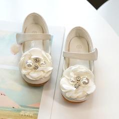 Girl's Mary Jane Microfiber leer Bloemenmeisje schoenen met Kralen Satijnen Strik Velcro (207216296)