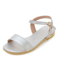 Femmes Similicuir Talon plat Sandales Chaussures plates À bout ouvert Escarpins avec Boucle chaussures