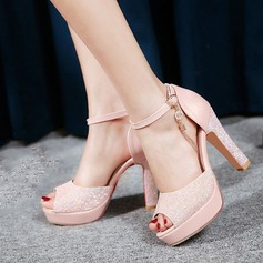 Vrouwen Kunstleer Sprankelende Glitter Stiletto Heel Sandalen Mary Jane met Gesp