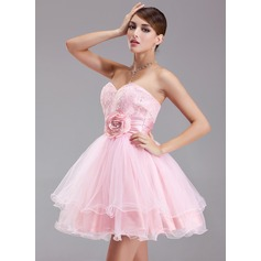 A-Line/Princess Sweetheart Short/Mini Taffeta Tulle Lace Homecoming Dress With Ruffle Beading Flower(s) Sequins (022004343)