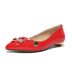 Women's Patent Leather Flat Heel Flats Closed Toe With Rhinestone shoes