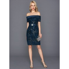 Tubo Off-the-ombro Coquetel Renda Vestido de cocktail com Beading lantejoulas (016124590)