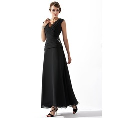 A-Line/Princess V-neck Ankle-Length Chiffon Mother of the Bride Dress With Ruffle Beading (008005756)