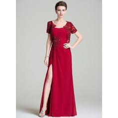 Vestidos princesa/ Formato A Amada Longos De chiffon Vestido para a mãe da noiva com Pregueado Bordado Apliques de Renda lantejoulas Frente aberta