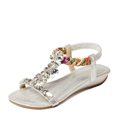 Naisten Keinonahasta Wedge heel Sandaalit Beach Wedding Shoes jossa Solki Tekojalokivi