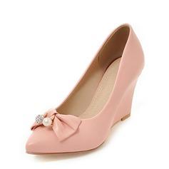 Vrouwen PU Wedge Heel Pumps Closed Toe Wedges met strik schoenen