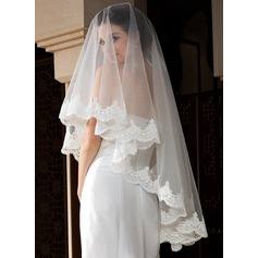 One-tier Waltz Bridal Veils With Lace Applique Edge (006036772)