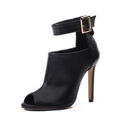 De mujer PU Tacón stilettos Salón Botas Botas al tobillo con Hebilla Cremallera zapatos