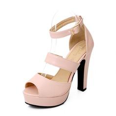 Женщины кожа Устойчивый каблук Сандалии Открытый мыс с пряжка обувь