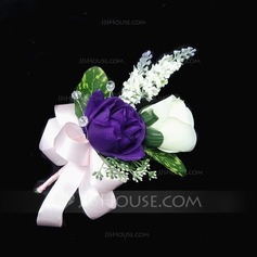Lovely Free-Form Satin/Cotton Boutonniere (123031425)