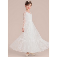 A-Line/Princess Floor-length Flower Girl Dress - Lace Long Sleeves V-neck (010136592)
