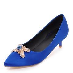 Kvinnor Tyg Låg Klack Stängt Toe med Oäkta Pearl skor