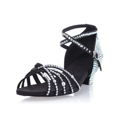 Women's Satin Sandals Pumps Latin Ballroom Salsa With Imitation Pearl Rhinestone Ankle Strap Buckle Dance Shoes (053026923)